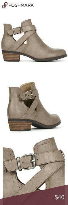 Selling this Taupe booties on Poshmark! My username is: amandanicolembr. #shopmycloset #poshmark #fashion #shopping #style #forsale #JustFab #Shoes