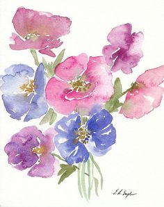 ORIGINAL WATERCOLOR PAINTING Pink, Purple, Indigo Poppy Flowers   Size: 8x10 inches  Materials: 140lb coldpress watercolor paper, professional grade watercolor paints, ink  -No frame included.  -Artist retains all copyrights to this artwork. Please do not reproduce.  See more here: Shop: https://www.etsy.com/shop/GrowCreativeShop Blog: http://growcreativeblog.com