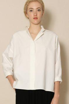 Yeohlee basic white shirt Nehru Shirt, Shirt Jacket, Hooded Jacket, Classic White Shirt, White Shirts, Tank Tops, Sleeves, Cotton, Jackets