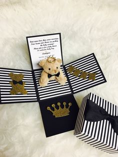 A personal favorite from my Etsy shop https://www.etsy.com/listing/500279313/black-bow-tie-teddy-bear-baby-shower