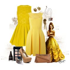 Belle - Formal - Disney's Beauty and the Beast by rubytyra on Polyvore featuring Almari, Topshop, G by Guess, ALDO, Nicola Crawford, Citrine By The Stones, Bobbi Brown Cosmetics, Revlon, Disney and disney