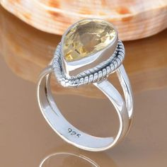 CITRINE 925 SOLID STERLING SILVER EXCLUSIVE RING 3.91g DJR7435 #Handmade #Ring
