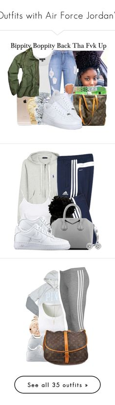 """Outfits with Air Force Jordan's"" by barbiedatrillest ❤ liked on Polyvore featuring Incase, Michael Kors, Tiffany & Co., Topshop, NIKE, basicc, armygreenn, Polo Ralph Lauren, adidas and Givenchy"