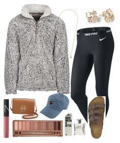 """""""favorite things: pullovers and Birkenstocks"""" by lilypope ❤ liked on Polyvore featuring NIKE, Kate Spade, Kendra Scott, Laila, NARS Cosmetics, Urban Decay, Southern Proper and Tory Burch"""