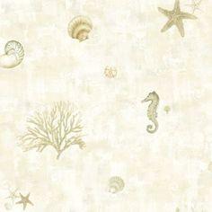Brewster DLR54533 Boca Raton Beige Seashells Wallpaper
