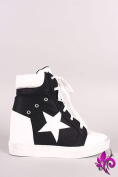 e9c97072479 Star Accent Lace-Up High Top Wedge Sneaker High Top Wedge Sneakers