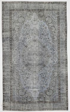 Grey Blue Overdyed Rug Medallion Vintage Turkish by bazaarbayar, $1385.00