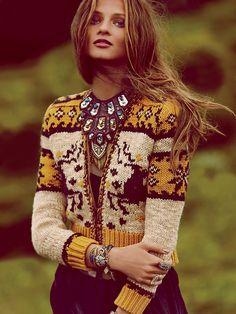 Free People Rudolph Cardigan. A Christmas sweater done fashionably! Pair with a lot of bling and you've got it made