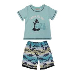 boys pack short pyjamas vehicles target summer  shark island pjs