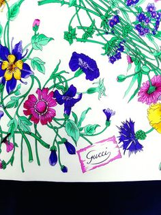 Vtg 70s GUCCI ITALY Iconic 'Flora ' by Vittorio V Accornero Design Silk Scarf in Pink,Blue,Green & Yellow on White w Navy Borders- Signed