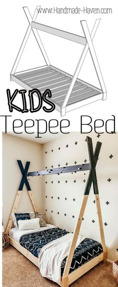 DIY Kids Teepee Bed This Teepee bed will surely be the envy of your kid's friends. If you're looking for how to make a teepee bed frame, look no more. This DIY teepee bed can be built with these free plans and easy step by step tutorial. Toddler Teepee, Diy Kids Teepee, Diy Toddler Bed, Teepee Bed, Toddler Rooms, Boys Bed Tent, Wood Teepee, Diy Teepee Tent, Play Tents