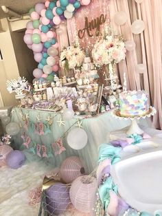 Placid quinceanera party decorations Buy now! (Also Purchase Now! 2nd Birthday Party Themes, Mermaid Theme Birthday, Birthday Party Decorations, Birthday Parties, 15th Birthday, Mermaid Party Decorations, Girl Baby Shower Decorations, Quince Decorations, Little Mermaid Parties