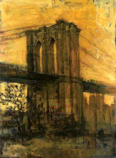 "Saatchi Art Artist: Jeff Faerber; Mixed Media 2009 Painting ""Brooklyn Bridge"""