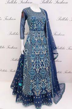 Anita Dongre Inspired Royal blue Designer Lehenga Set - All About Indian Fashion Dresses, Indian Gowns Dresses, Dress Indian Style, Indian Designer Outfits, Pakistani Dresses, Indian Outfits, Designer Party Wear Dresses, Kurti Designs Party Wear, Anarkali Dress