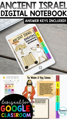 Ancient Israel Interactive Notebook {Digital Version} Digital Interactive Notebook using Google Slides! Graphic organizers that students simply type in! Paperless, colorful & fun activities for students! Vocabulary, graphic organizers, and images included Teaching Activities, Teaching Writing, Teaching Science, Classroom Activities, Teaching Resources, Teaching Ideas, 6th Grade Social Studies, Teaching Social Studies, Student Teaching