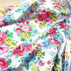 Camellia Floral Lycra Knit Cotton Jersey Fabric by the Yard for Tshirt Craft