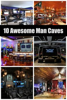 10 Awesome Man Cave Ideas for your home or shed! Man Cave Basement, Man Cave Garage, Best Man Caves, Tech Room, Ultimate Man Cave, Man Cave Home Bar, Woman Cave, Man Room, Entertainment Room