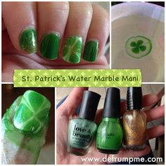 Defrump Me: St. Patricks Day Water Marble Shamrock Mani