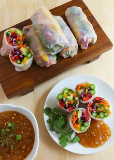 Rainbow Spring Rolls. Strict Vegans: replace honey with alternative sweetener.