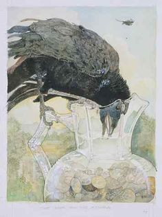 Jeremy Pinkney - The Crow and the Water Pitcher, illustration of one of Aesop's fables.