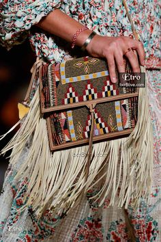 Etro Spring 2015-16 Collection is a buffet of sunset colored, hand made, Native American inspired beaded embroidery fashions and accessories