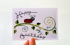 Ladybug birthday card for baby BIRTHDAY CARD Babies by artbyasta