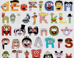 "ON SALE INSTANT Download - Alphabet Muppets characters - 19.71"" x 24.57"" -  Cross Stitch Pattern Pdf C557"