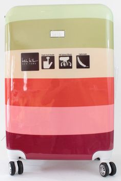 Nicole Miller Luggage Cool Stripes 24 in Spinner Suitcase Multi-Color #NicoleMiller