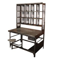 """#industrial Post Office Station for a #workspace.  how WONDERFUL...if only affordable. $6500 from The Butler and The Chef on 1st Dibbs.  oh the possibilities:  computer desk, shelving organizer for photography equipment and sewing notions and art supplies.  look!  it even comes with a built in """"chair"""""""