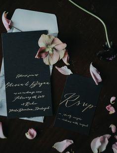 luxe black invitations