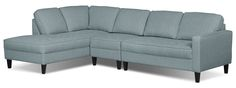 Let this soothing, Cindy Crawford Home Paris three-piece sectional do a world of good for your living room. Draped in charming, soft blue, linen-like upholstery, this furniture piece provides a warm place for guests to enjoy your hospitality. An oversized seat cushion is packed with high-density foam for a plush place to relax. With slim track arms and legs to raise the furniture off the ground, this Paris sectional is the best of contemporary and retro designs combined.
