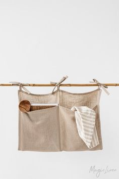 Keep your things organized with this linen storage pocket. Linen Storage, Bag Storage, Diy Organisation, White Linen Dresses, Linen Duvet, Hanging Storage, Bed Throws, Baby Decor, Home Textile