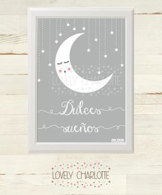 "Lámina gratis para habitación de bebé en tres tonos: gris, azul celeste y rosa / ""Sweet Dreams"" poster free printable for nursery. Available in baby blue, baby pink and grey. Spanish."
