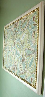 DIY: Decorative bulletin board. Cover a cork bulletin board with fabric. Trim the board with gold nails  paint the wooden frame! @Whitney Clark Clark Clark Clark Jordan
