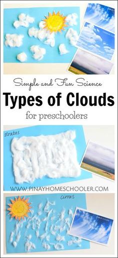 Learning the basic types of clouds for preschoolers. #kidactivities #learning #preschool #crafts #science #weather #montessori