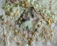 I ❤ crazy quilting, beading & ribbon embroidery . . . DYB RR - (Closeup) Victorian Ladies keeps going, I worked on Cathy's lovely block this month. But, unfortunately, I've completed it a little bit late due to some serious family health issues. I enjoyed so much to work on it. I tried to use all soft color threads and silk ribbons. ~By Rengin Kutbay Yazitas