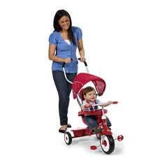 The best  4-in-1 Stroll 'N Trike: Toys & Games for Baby. Grows with your child — 4 ways to ride: infant trike, steering trike, learn-to-ride trike and classic trike. Secure 3-point harness and high back seat for infant safety. Removable safety tray with cup holder. Adjustable seat grows with your child. Adult Steer & Stroll adjustable push handle. Pedals become footrests for early stages. Covered storage bin for added fun.Removable wrap around tray for safety 3 point harness to keep infants…