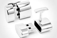 Wifi Cufflinks :-) geek, product, stuff, wifi hotspot, gadget, cufflinks, james bond, usb cufflink, 2gb usb