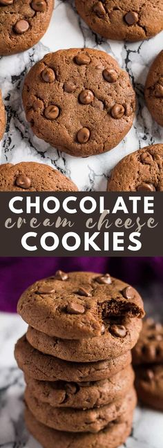 Double Chocolate Cream Cheese Cookies - Deliciously thick, soft, and chewy, and oh so chocolatey. The cream cheese makes these extra soft! #chocolatecookies #cookierecipes #creamcheesecookies