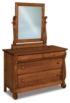 Amish Old Classic Sleigh Four Drawer Dresser with Optional Mirror This sleigh style dresser creates a warm and romantic look in any bedroom. Built in the wood and finish of your choice. Mirror is optional. Handcrafted in Amish country. #bedroomdresser #bedroomfurniture