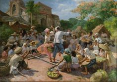 Tinikling in barrio, 1951, Oil on canvas by Fernando Amorsolo.