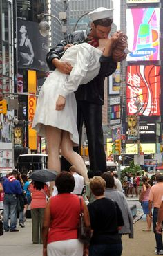 Unconditional Surrender by artist Seward Johnson is a 26 foot statue replica of the legendary lip-lock photograph created the day WWII ended.