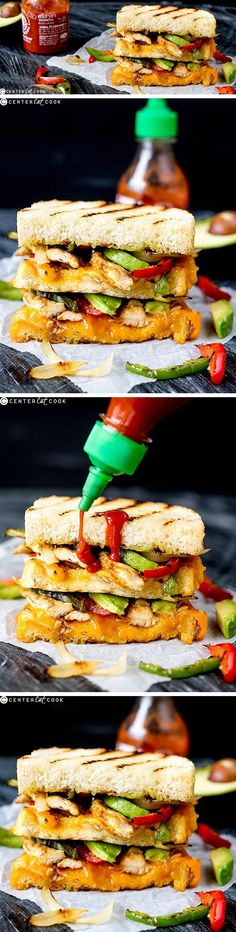 Mexican Grilled Cheese! Spicy chicken, charred vegetables, gooey CHEESE and cool avocado. You need this for lunch!