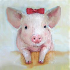 Free Shipping Pig Nursery Art Pig Art Print by NickiNickiGallery