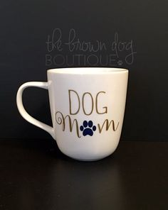 Every dog mama deserves a little something to show off their dog mom pride! This mug makes the perfect gift for any coffee or tea drinker. It can also hold wine too... Just sayin!   If you would like specific colors for your mug, please message me or include that information in the Note to Seller while checking out.  DETAILS:  - White Porcelain - 14 oz. - Handwash
