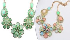 Floral Statement Necklace - 2 Colours Glam up outfits with a stylish Floral Statement Necklace      Coloured gems and crystals combine to make up a cute flower design      Green or rose red colours available, each with various hues and shades      Statement flower sits in the centre between three designs on each side      Chain length: 25cm with a 2 inch surplus for comfortable adjustment     ...
