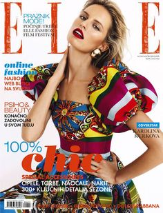 Cover with Karolina Kurkova June 2013 of HR based magazine Elle Croatia from Adria Media Zagreb d. Saarloos, List Of Magazines, Magazin Covers, Elle Magazine, Album Songs, Italy Wedding, Profile Photo, 50 Fashion