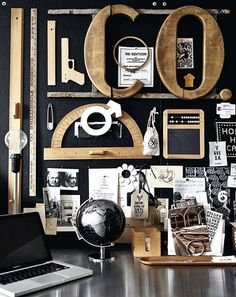 Black, white, and copper home office // Oficina blanco, negro y café // Casa Haus
