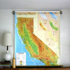 Vintage Nystrom Pull Down Map CALIFORNIA by ethanollie on Etsy