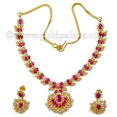 Gold Jewelry - Gold Palace Jewelers Inc. Gold Necklace And Earring Set With CZ 22K